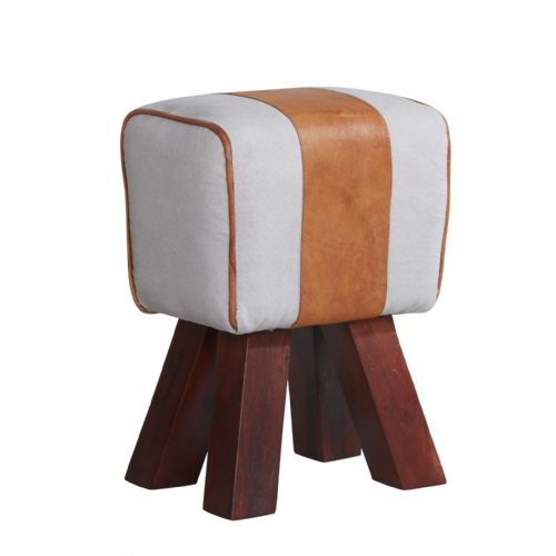 Canvas & Leather Footstool